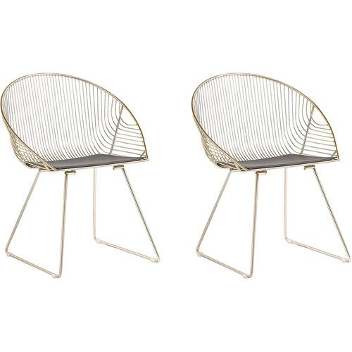 Beliani - Stuhl 2er Set Gold Metall/Kunstleder 2 x Sitzkissen Modern
