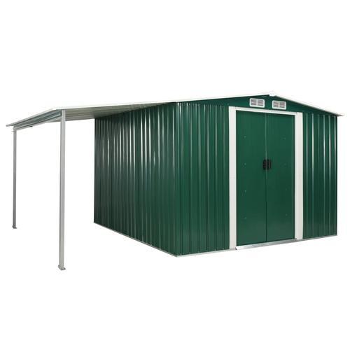 vidaXL Gerätehaus mit Schiebetüren Grün 386×259×178 cm Stahl