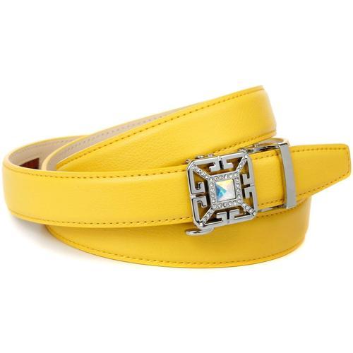 Anthoni Crown Ledergürtel, in gelb mit Kristall-Glas-Schnalle Damen Ledergürtel Gürtel Accessoires