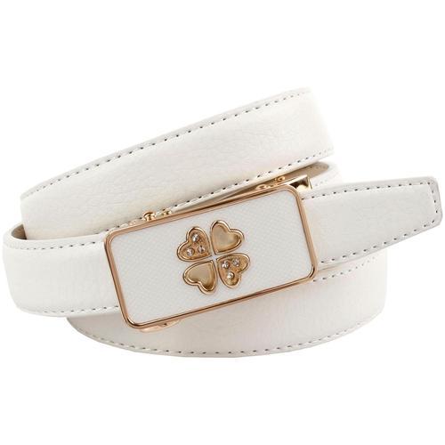 Anthoni Crown Ledergürtel, Automatik Gürtel in weiß mit teilbezogener Schließe Damen Ledergürtel Accessoires