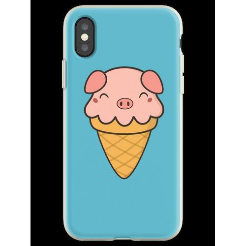 Appetitanregende Kawaii Cute Pig Ice Cream Flexible Hülle für iPhone XS