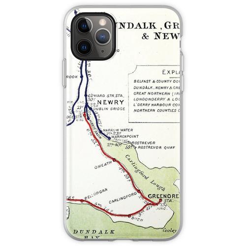 OLD DUNDALK, NEWRY & GREENORE EISENBAHNPLAN Flexible Hülle für iPhone 11 Pro Max