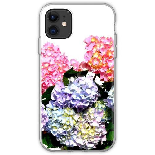 Rosa, lila und blaue Hortensien in Kristallvase Flexible Hülle für iPhone 11