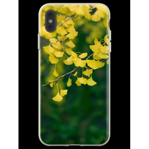 Gelber Ginkgobaum verlässt im Kunstfoto-Druck des Herbstes künstl Flexible Hülle für iPhone XS Max