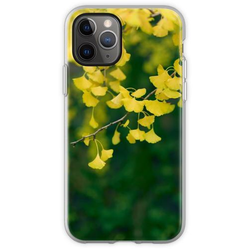 Gelber Ginkgobaum verlässt im Kunstfoto-Druck des Herbstes künstl Flexible Hülle für iPhone 11 Pro