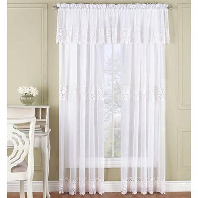 Malta Sheer Wide Tailored Curtain Pair 110 x 84, 110 x 84, White