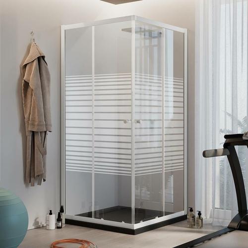 Rechteckig Duschkabine Weiß 90x70 CM H185 mit Milchglas Streifen Mod. Blanc