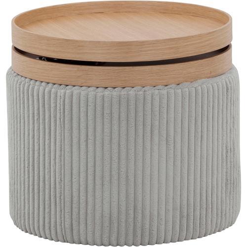 SalesFever Beistelltisch, mit zwei beweglichen Tabletts und modernem Cordbezug grau Beistelltische Tische Beistelltisch