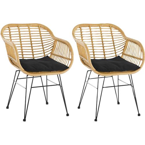 SalesFever Stuhl, aus wetterfestem Kunststoffgeflecht, im 2er-Set beige Rattanstühle Stühle Sitzbänke Stuhl
