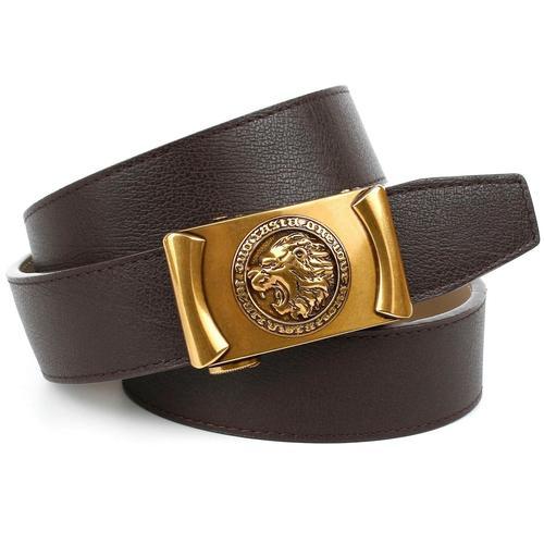 Anthoni Crown Ledergürtel, Automatik-Schließe im Antik-Look mit Löwenkopf braun Damen Ledergürtel Gürtel Accessoires