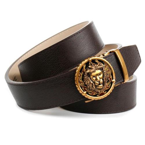 Anthoni Crown Ledergürtel, mit Löwen Schließe braun Damen Ledergürtel Gürtel Accessoires