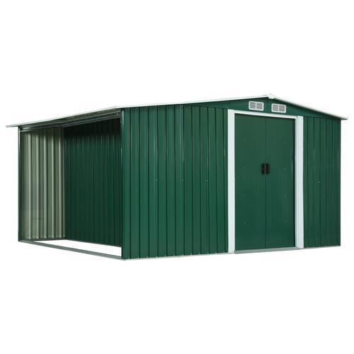 vidaXL Gerätehaus mit Schiebetüren Grün 329,5×312×178 cm Stahl