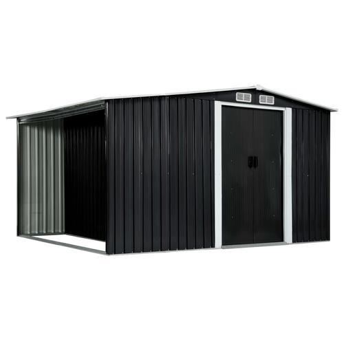 vidaXL Gerätehaus mit Schiebetüren Anthrazit 329,5×205×178 cm Stahl