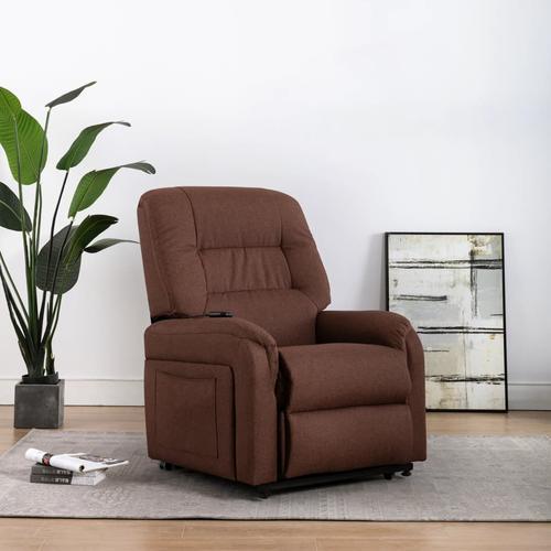 vidaXL TV-Sessel mit Aufstehhilfe Elektrisch Braun Stoff