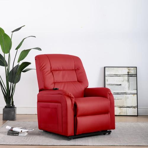 vidaXL Elektrischer TV-Sessel mit Aufstehhilfe Rot Kunstleder