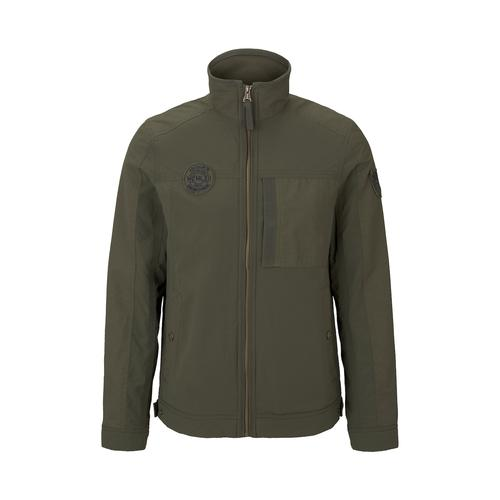 TOM TAILOR Herren Moderne Jacke im Material-Mix, grün, Gr.L