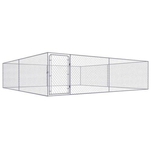 vidaXL Outdoor-Hundezwinger Verzinkter Stahl 4 x 4 x 1 m