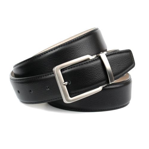 Anthoni Crown Ledergürtel, klassisch, leicht bombiert schwarz Damen Ledergürtel Gürtel Accessoires