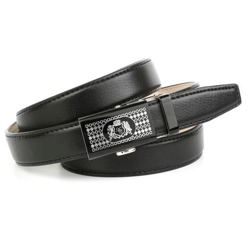 Anthoni Crown Ledergürtel, mit gemusterter Schließe schwarz Damen Ledergürtel Gürtel Accessoires