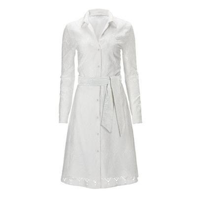 Boston Proper - Long-Sleeve Eyelet Fit-And-Flare Shirt Dress - White - 06