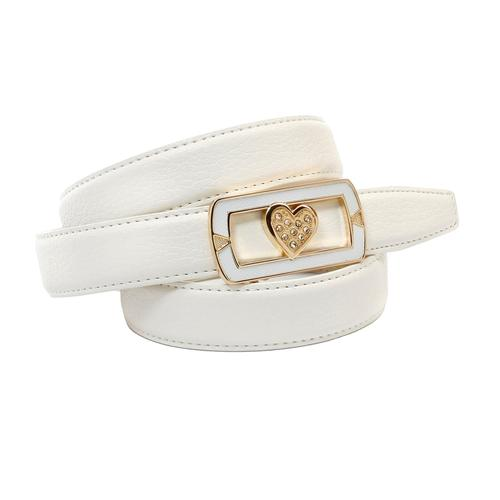 Anthoni Crown Ledergürtel, mit Automatik Glas-Schnalle weiß Damen Ledergürtel Gürtel Accessoires