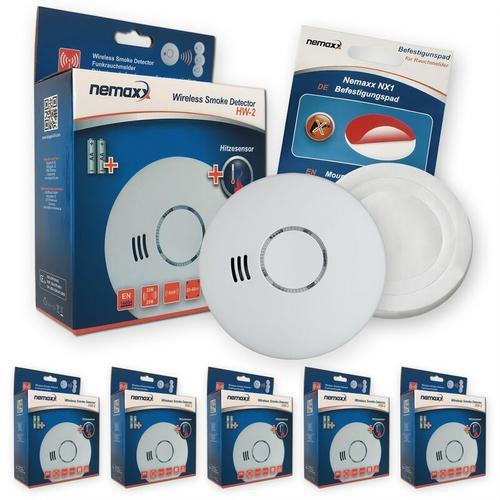 5x Nemaxx HW-2 Funkrauchmelder Rauchmelder Hitzemelder mit kombiniertem Rauch- und Thermosensor