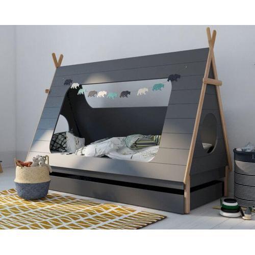 BLN Kids TIPI Kinderbett grau 90x200 cm / mit Bettkasten