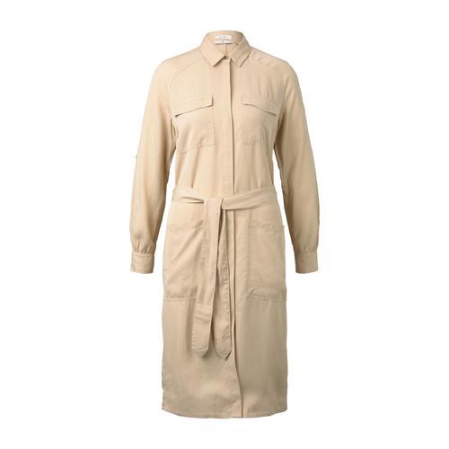 TOM TAILOR Damen Kleid mit Bindegürtel, beige, Gr.44