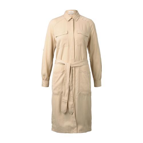 TOM TAILOR Damen Kleid mit Bindegürtel, beige, Gr.36