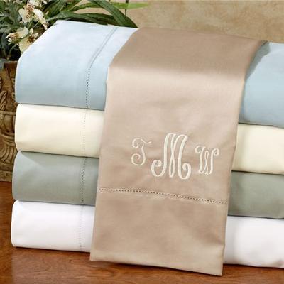 Regency Hemstitch Cotton Sateen Sheet Set, Full / Double, Sky Blue