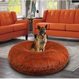 Bessie + Barnie Signature Extra Plush Faux Fur Shags Bagel Dog & Cat Bed, Rustic Brick, X-Large