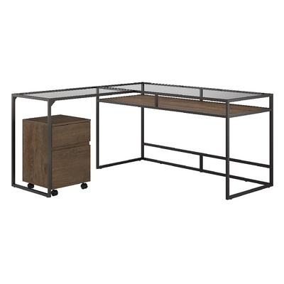 Bush Furniture Anthropology 60W Glass Top L Shaped Desk with 2 Drawer Mobile File Cabinet in Rustic Brown - Bush Furniture ATH021RB