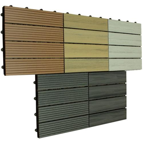 WPC Bodenfliesen 30 x 30cm grau profiliert 2 m²