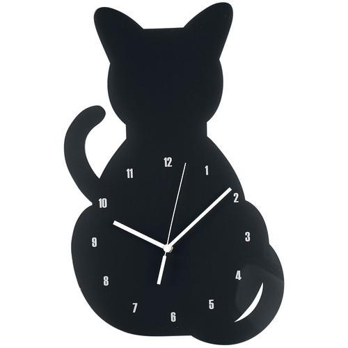 Acryl - Wanduhr Katze Wanduhr - schwarz