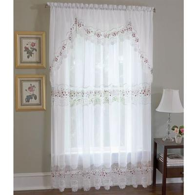 Vintage Embroidered Tailored Sheer Curtain Panel, 58 x 63, Sky Blue