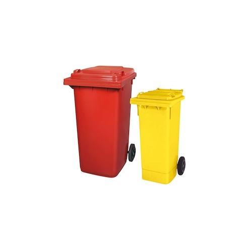 BRB Set mit 1x DIN Mülltonne 80 Liter gelb und 1x DIN Mülltonne 240 Liter rot