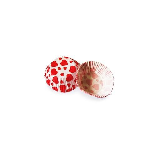 2000x Muffinkapseln Gebäckkapseln rote Herzen O 50 x 30 mm
