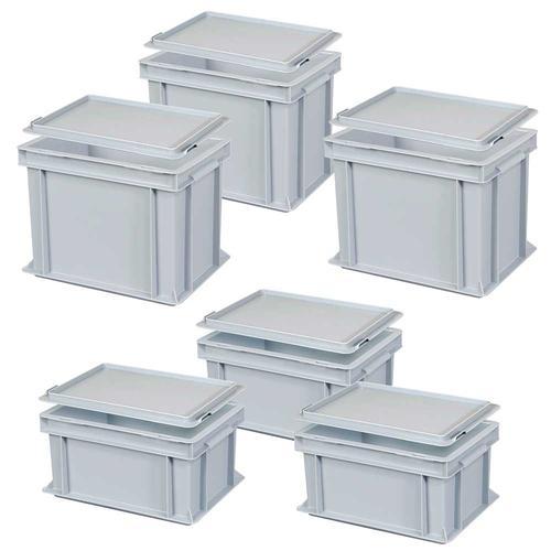 Set, 6 Euroboxen mit Deckel, Industriequalität, 3x LxBxH 300 x 200 x 150 mm, 3x 300 x 200 x 220 mm, grau