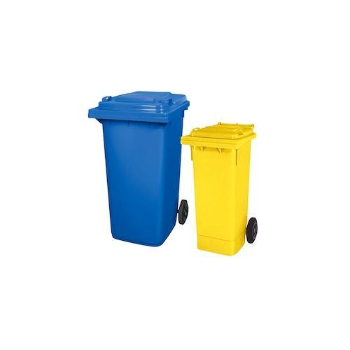 BRB Set mit 1x DIN Mülltonne 80 Liter gelb und 1x DIN Mülltonne 240 Liter blau