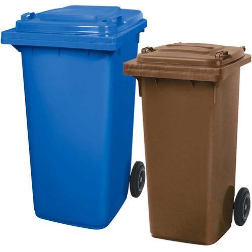 BRB Set mit 1x DIN Mülltonne 120 Liter braun und 1x DIN Mülltonne 240 Liter blau