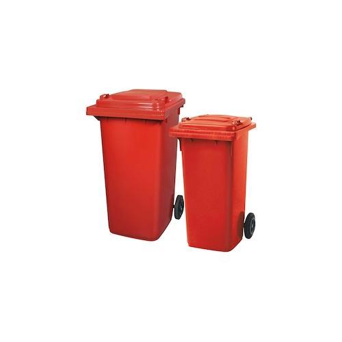BRB Set mit 1x DIN Mülltonne 120 Liter rot und 1x DIN Mülltonne 240 Liter rot