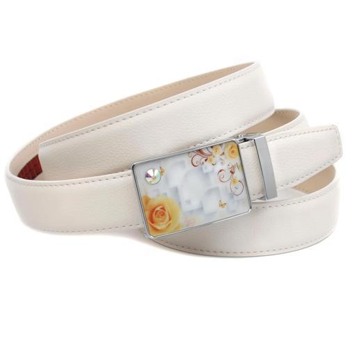 Anthoni Crown Ledergürtel, mit Glaskristallen besetzter Schließe, schmale Metallschlaufe weiß Damen Ledergürtel Gürtel Accessoires