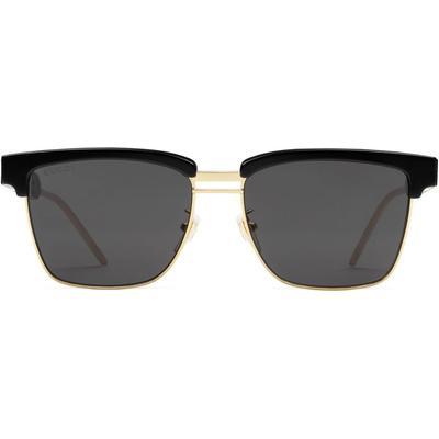 Gucci Lunettes de soleil carrées en métal et acétate