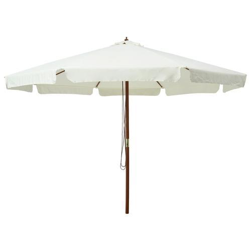 vidaXL Sonnenschirm mit Holzmast 330 cm Sandweiß