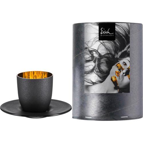 Eisch Espressoglas Cosmo gold, (Set, 2 tlg.), Echtgold, handgefertigt, bleifreies Kristallglas, 100 ml schwarz Kristallgläser Gläser Glaswaren Haushaltswaren