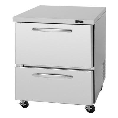 """Turbo Air PUR-28-D2-N 27 1/2"""" W Undercounter Refrigerator w/ (1) Section & (2) Drawers, 115v"""