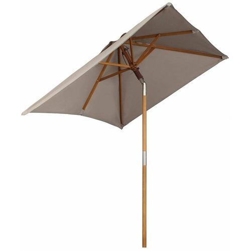 200 x 150cm Holz Sonnenschirm für Garten, rechteckiger Balkonschirm, Sonnenschutz bis UV 50+, Taupe