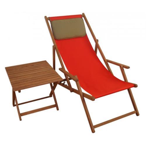 Liegestuhl Gartenliege rot Kissen Tisch Deckchair Buche Sonnenliege Sonnenstuhl 10-308 T KD