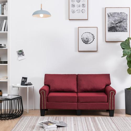 vidaXL 2-Sitzer-Sofa Weinrot Stoff