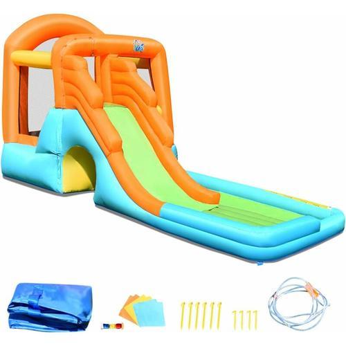 COSTWAY Huepfburg aufblasbar, Wasserrutsche Spielpool Aufblasbare, Wasserspielcenter mit Rutsche,